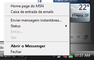 Note que é o Windows Live Messenger 2009.
