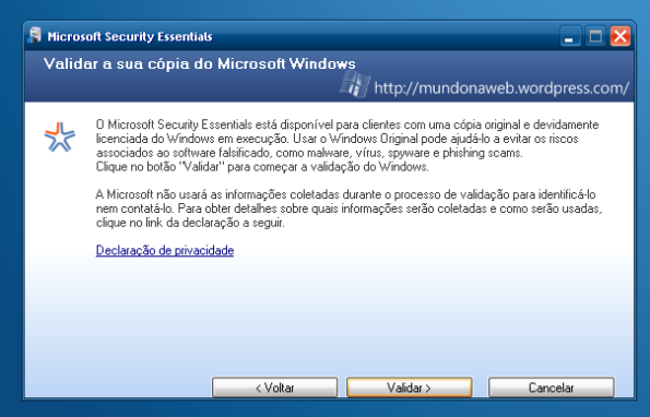 Validar o Windows.